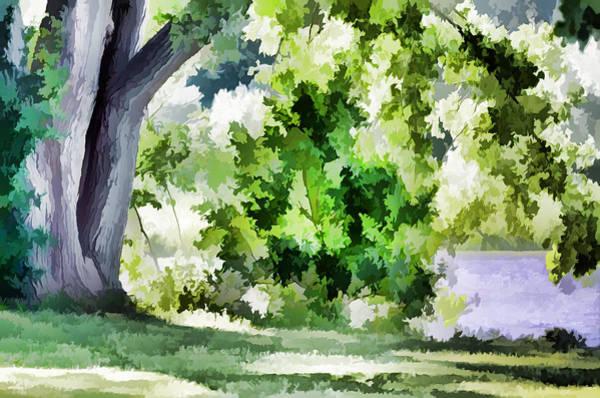 Stourhead Wall Art - Painting - Tree At  Riverside Park 1 by Jeelan Clark