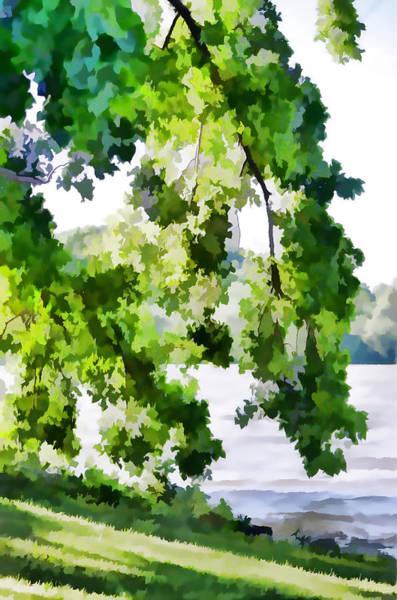 Stourhead Wall Art - Painting - Tree At  Riverside Park 2 by Jeelan Clark