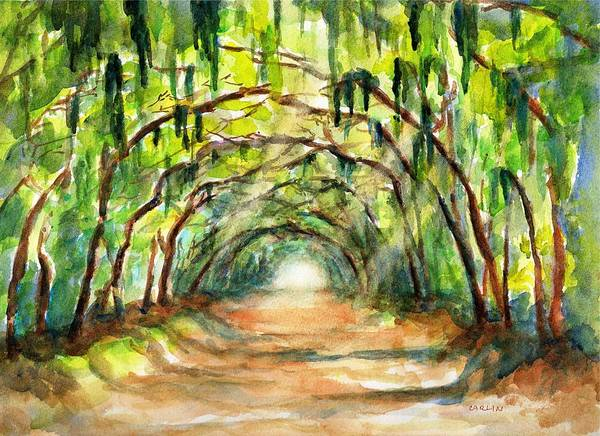 Tunnel Painting - Tree Canopy With Spanish Moss by Carlin Blahnik CarlinArtWatercolor