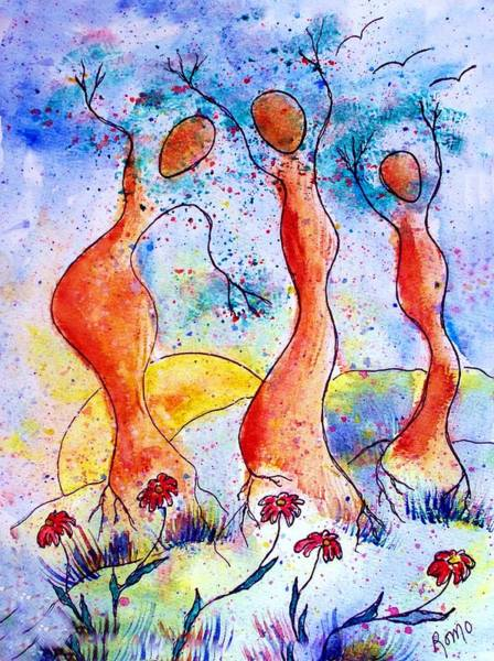 Romo Painting - Tree Dancers by Robin Monroe