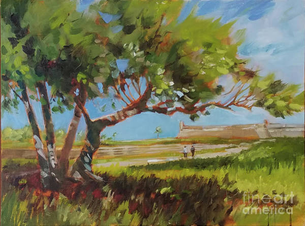 Wall Art - Painting - Tree Fort St. Augustine Florida Castillo by Mary Hubley