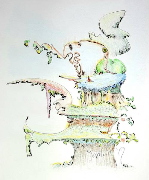 Drawing - Tree House Condo Man by Dave Martsolf