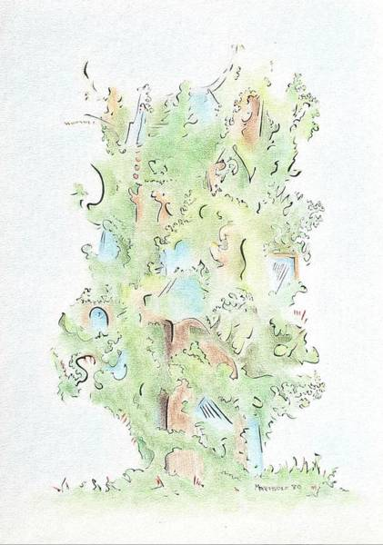 Drawing - Tree House by Dave Martsolf
