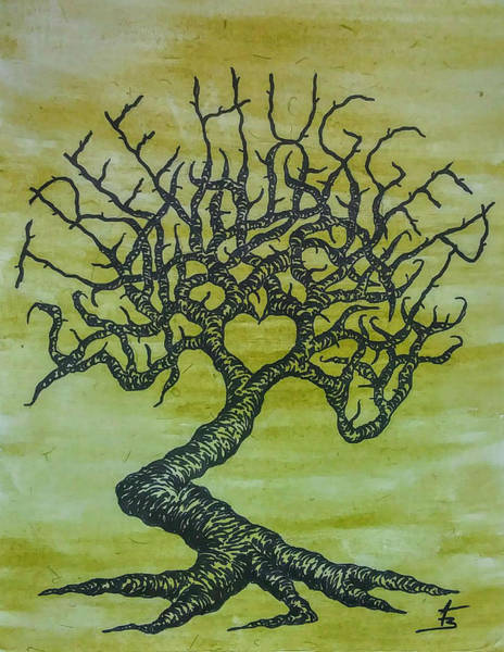 Drawing - Tree Hugger Love Tree by Aaron Bombalicki