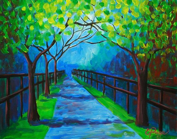 Painting - Tree Lined Fence by Emily Page