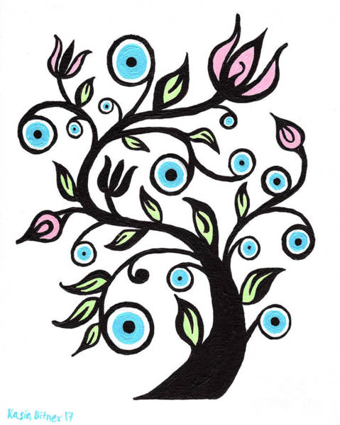 Wall Art - Painting - Tree Of Eye by Kasia Bitner
