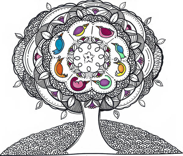 Drawing - Tree Of Life - Ink Drawing by Caroline Sainis