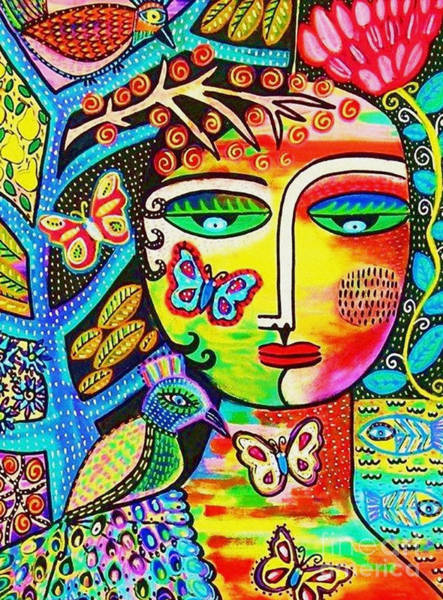Cubist Wall Art - Painting - Tree Of Life Paradise Goddess by Sandra Silberzweig