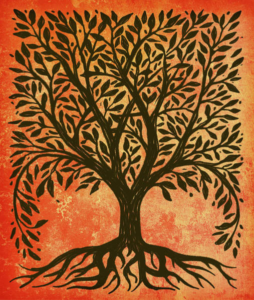 Wiccan Painting - Tree Of Life Warm by Little Bunny Sunshine