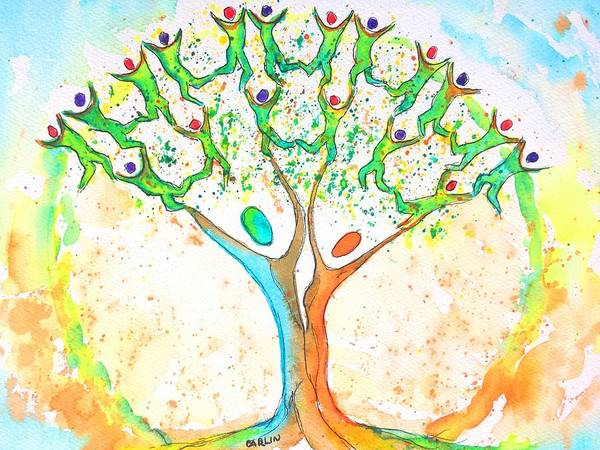 Wall Art - Painting - Tree Of Life Watercolor And Ink by Carlin Blahnik CarlinArtWatercolor