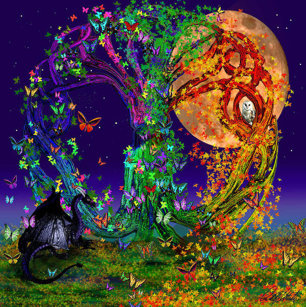 Full Moon Painting - Tree Of Life With Owl And Dragon by Michele Avanti