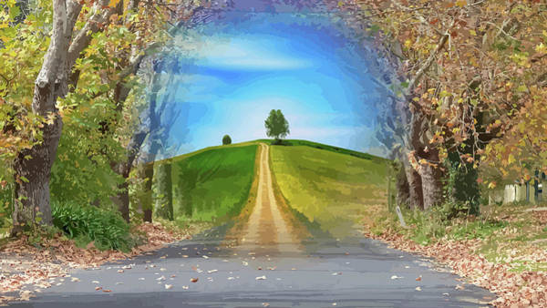 Tree On The Hill Montage Art Print