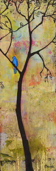 Bluebird Painting - Tree Print Triptych Section 3 by Blenda Studio