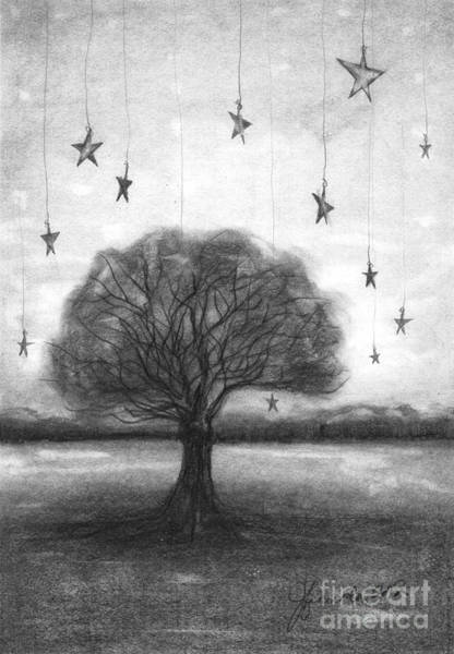 Woods Drawing - Tree Stars by J Ferwerda