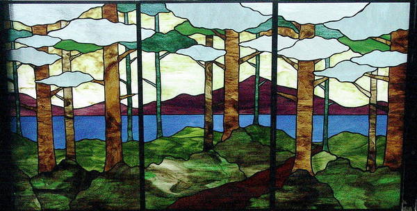 Glass Art - Tree Tryptic by Jane Croteau