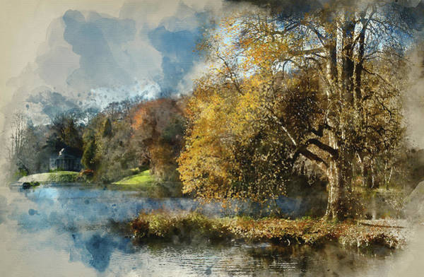 Stourhead Photograph - Trees And Main Lake In Stourhead Gardens During Autumn. by Matthew Gibson