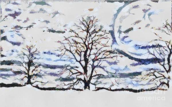 Painting - Trees And Moon It Is  by Catherine Lott
