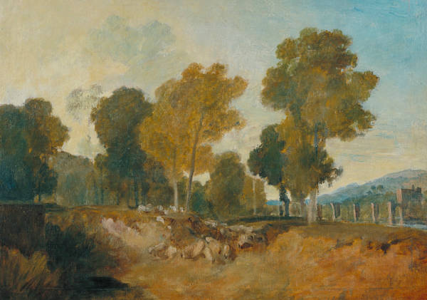 Painting - Trees Beside The River With Bridge In The Middle Distance by Joseph Mallord William Turner
