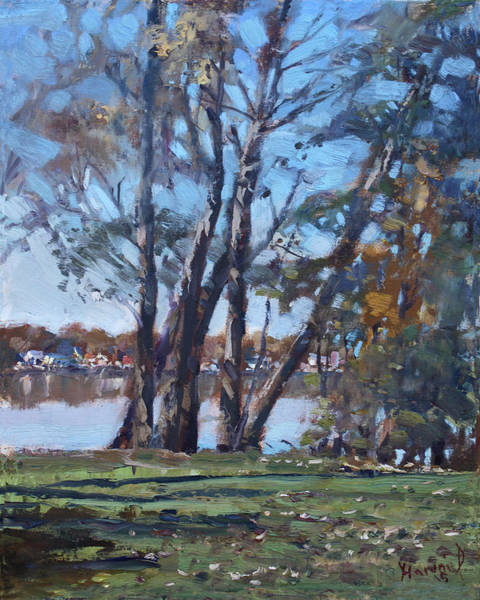 Wall Art - Painting - Trees By The River by Ylli Haruni