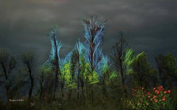 Digital Art - Trees Electrified In Fantasy Land by Bonnie Willis