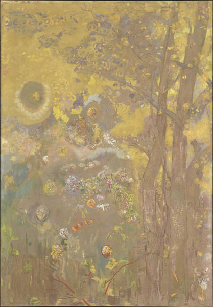 Painting - Trees On A Yellow Background by Odilon Redon