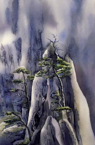 Painting - Trees On The Mountain by Alfred Ng