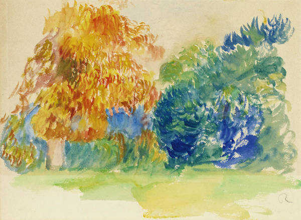 Impressionistic Landscape Drawing - Trees  by Pierre-Auguste Renoir