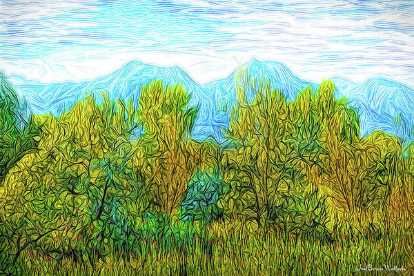 Digital Art - Trees With Mountains by Joel Bruce Wallach