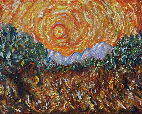 Painting - Trees, Yellow Sky And Sun Inspired By Vincent Van Gogh's Paintin by OLena Art Brand