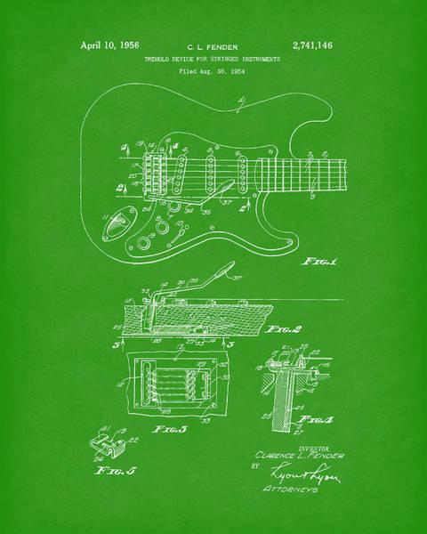 Drawing - Tremolo Device 1956 Patent Art Bright Green by Prior Art Design