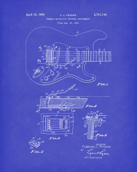 Drawing - Tremolo Device 1956 Patent Art Darkblue by Prior Art Design