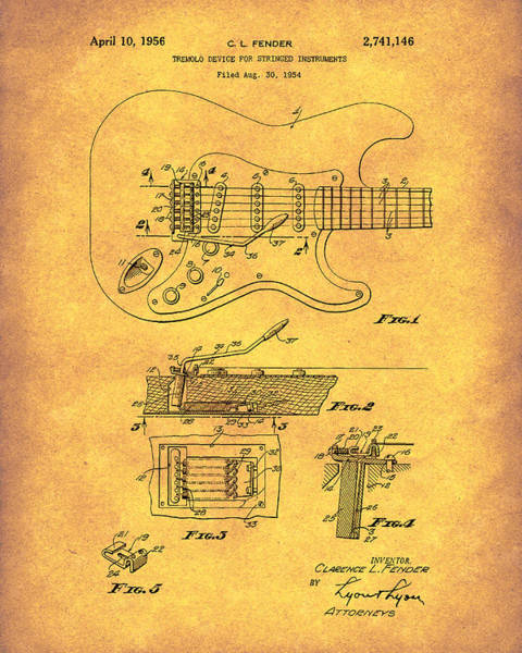 Drawing - Tremolo Device 1956 Patent Art Gold by Prior Art Design