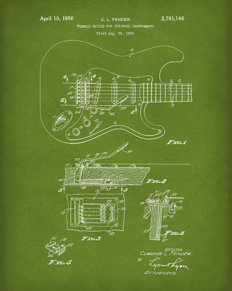 Drawing - Tremolo Device 1956 Patent Art Green1 by Prior Art Design