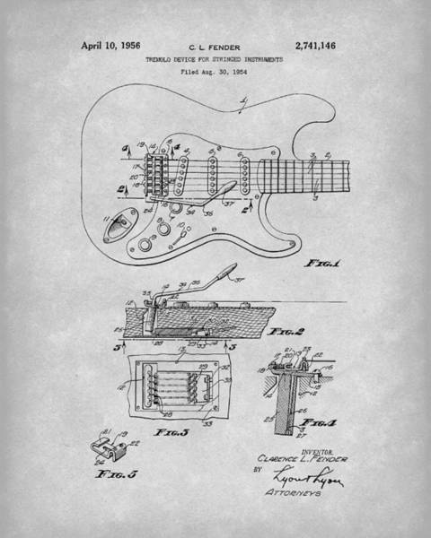 Drawing - Tremolo Device 1956 Patent Art Grey by Prior Art Design