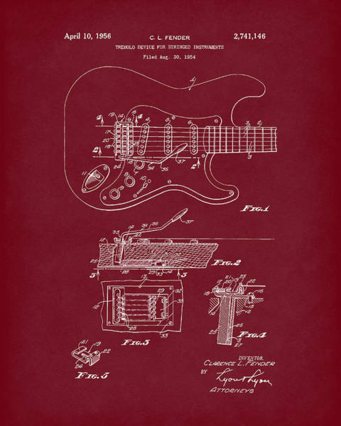 Drawing - Tremolo Device 1956 Patent Art Red Dark by Prior Art Design