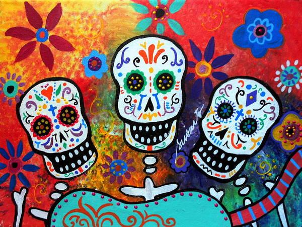 Wall Art - Painting - Tres Amigos Guitar by Pristine Cartera Turkus