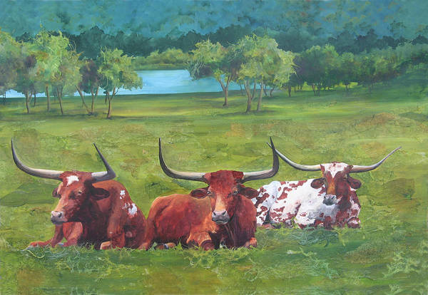Longhorn Painting - Tres Amigos by Robin Hegemier