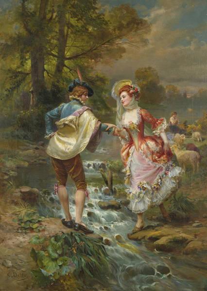 Cesare Painting - Tres Galant by Cesare Auguste Detti