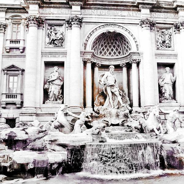 Trevi Fountain Digital Art - Trevi Fountain Bw by Mary Pille