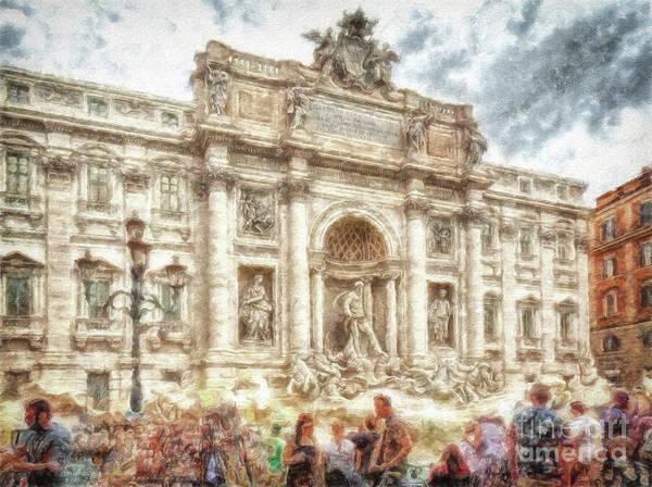 Digital Art - Trevi Fountain Rome by Leigh Kemp