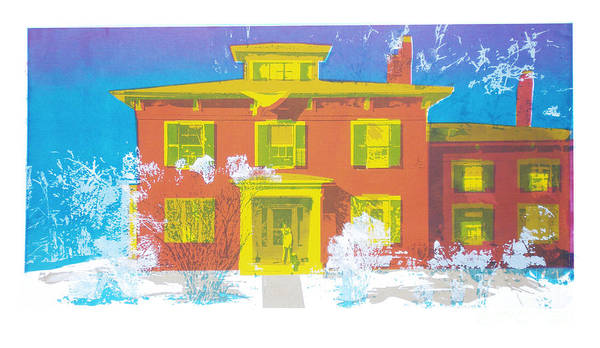 Delta Mixed Media - Tri Delta House In Winter by Candace Lovely