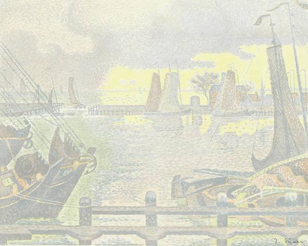 Trial Harbour Wall Art - Painting - Trial Proof Of The Harbour Of Volendam by Celestial Images