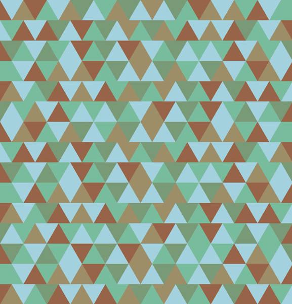 Triangle Mixed Media - Triangular Geometric Pattern - Blue Green Brown by Studio Grafiikka
