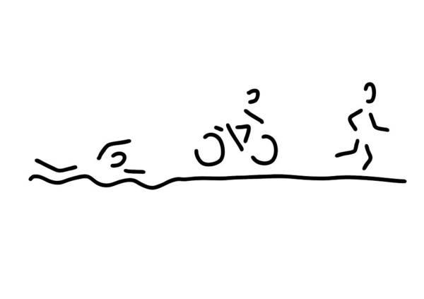 Lineart Drawing - Triathlon Triathlet by Lineamentum