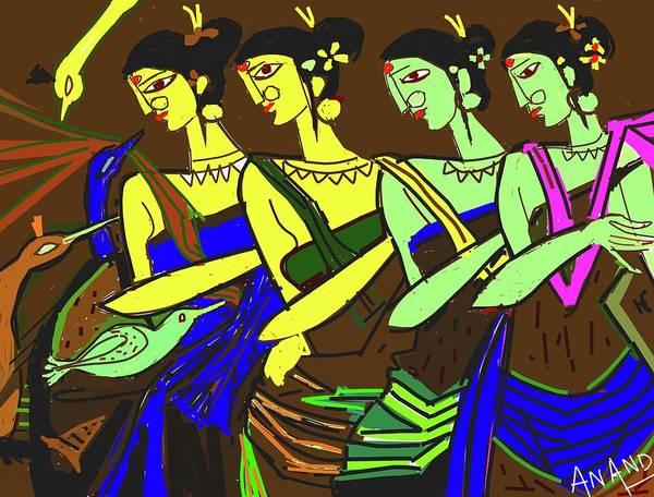 Tribal Dance Digital Art - Tribal Beauties-2 by Anand Swaroop Manchiraju