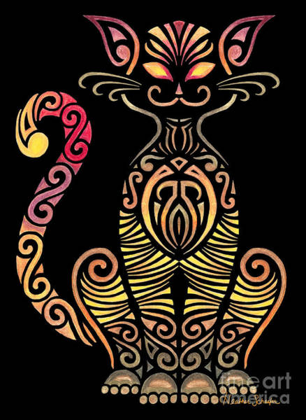 Drawing - Tribal Cat by Heather Schaefer