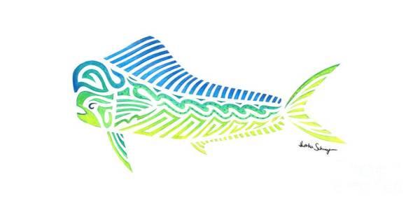 Drawing - Tribal Mahi Mahi by Heather Schaefer