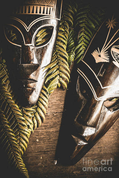 Wall Art - Photograph - Tribal Masks With Ferns On Wooden Table by Jorgo Photography - Wall Art Gallery