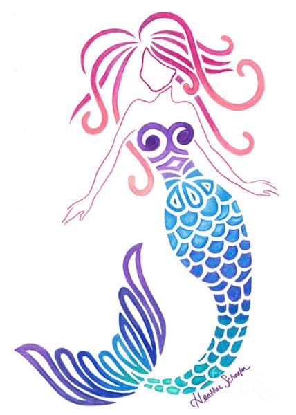 Drawing - Tribal Mermaid by Heather Schaefer