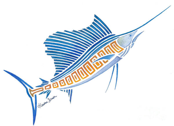 Drawing - Tribal Sailfish by Heather Schaefer